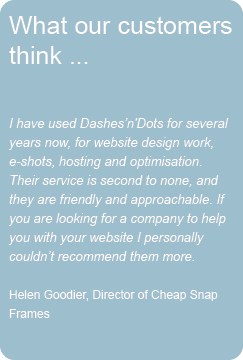 Cheap Snap Frames Testimonial for new web site design